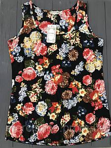 Легкая летняя черная блузка с принтом (без рукавов), XL-маломерит (длина: 62 см; бюст: 92 см)