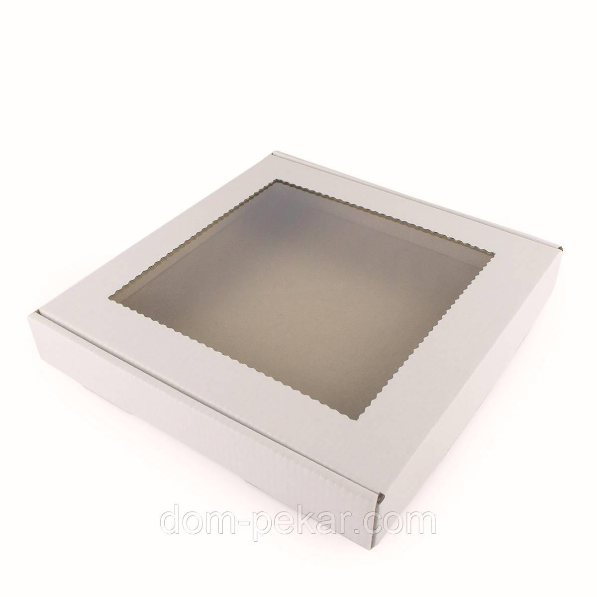 Упаковка для пряников с окошком гофра 200*200*30мм