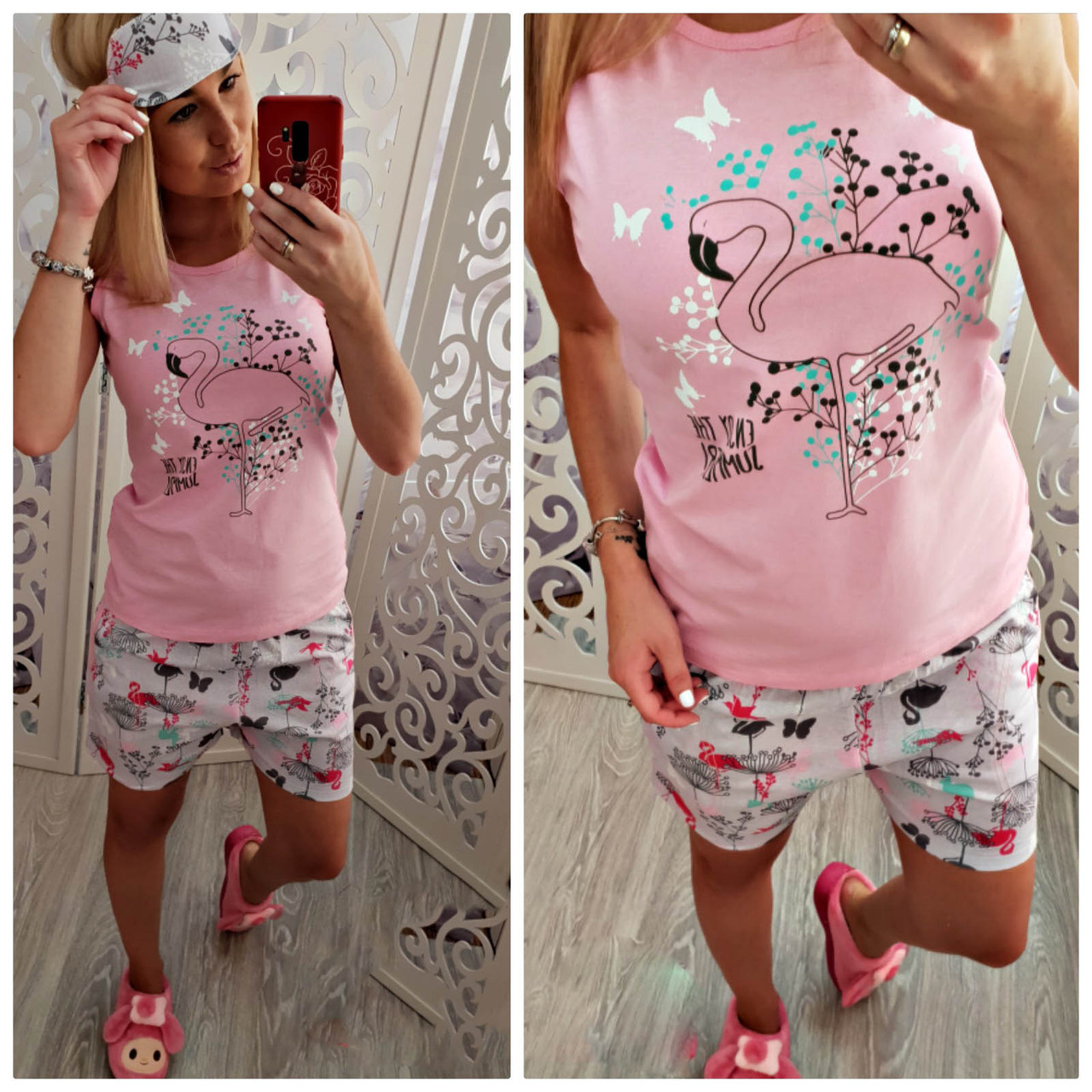 "Пижама : шорты+майка ""FLAMINGO"""