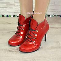 Ботинки демисезонные женские на шпильке, натуральная лаковая кожа, фото 1