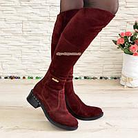 Женские зимние замшевые ботфорты на невысоком каблуке, цвет бордо, фото 1