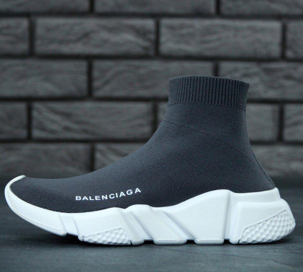 Женские кроссовки в стиле Balenciaga Speed Trainer Grey (Баленсиага с носком) темно-серые