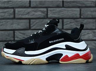 Женские кроссовки Balenciaga Triple S Black (Баленсиага) черные, реплика