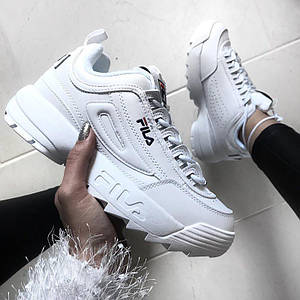 Мужские кроссовки Fila Disruptor 2 White (Фила Дисраптор) белые, реплика