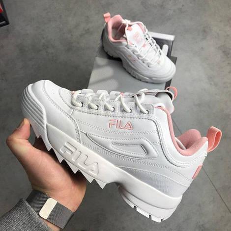 Женские кроссовки Fila Disruptor 2 White Flamingo Pink (Фила Дисраптор 2)  белые, 019bb943ff3
