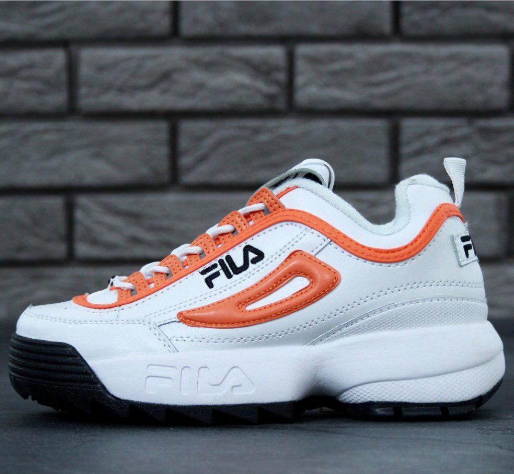 Женские кроссовки Fila Disruptor 2 White/Orange/Black, Фила Дисраптор 2 белые