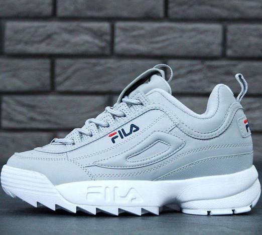 Женские кроссовки Fila Disruptor 2 Grey (Фила Дисраптор 2) серые, реплика
