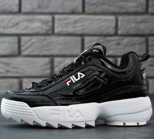 Женские кроссовки Fila Disruptor 2 Black White (Фила Дисраптор 2) черные с белым, реплика