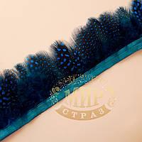 Тесьма перьевая из пера цесарки, цвет Blue Zircon,  0,5м, высота 5,5 см