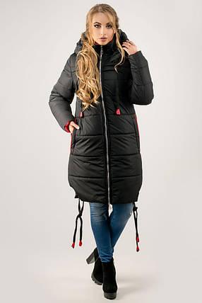 Женская удлиненная зимняя молодежная куртка Лиана с капюшоном   размер  44-54   цвет черный 05d0552d55f