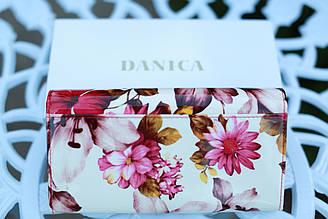 Кошелек женский кожаный с цветами mds