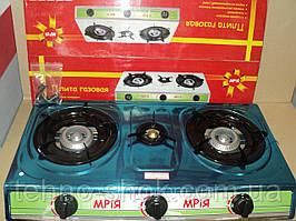 Газовая плита Мрия (3 конфорки нержавеющая сталь)