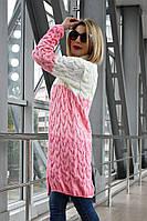 Вязаный женский кардиган Лало меланж трехцветный, молоко+розовый, фото 1