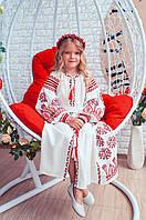 """Платье для девочки с вышивкой в бохо-стиле """"Розкіш-2"""" белого цвета, фото 1"""