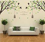 Самоклеющаяся наклейка на стену - Дерево с птичками (270х115см), фото 3