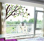 Самоклеющаяся наклейка на стену - Дерево с птичками (270х115см), фото 4