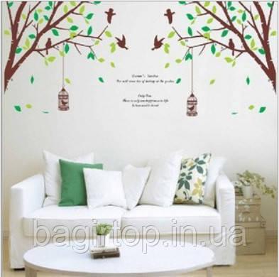 Самоклеющаяся наклейка на стену - Дерево с птичками (270х115см)