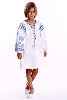 """Вышитое платье для девочки в бохо-стиле """"Розкіш"""" (голубая вышивка), фото 1"""