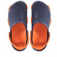 Женские кроксы синие с оранжевым.