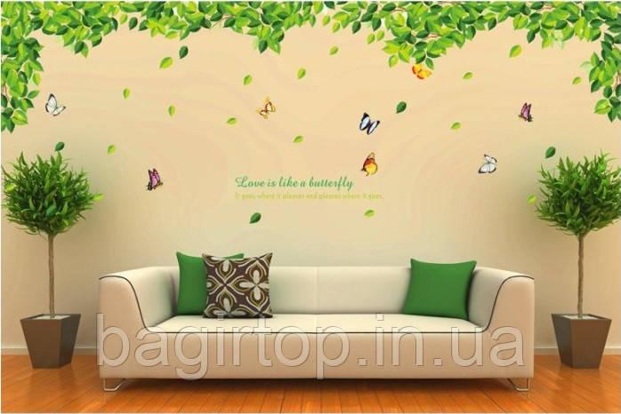 Самоклеюча наклейка на стіну - Зелене листя і метелики (110х300см)