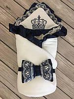 """Стильный зимний велюровый конверт-одеяло  """"Королевский"""" (подклад махра) цвета: белый, молочный, фото 1"""