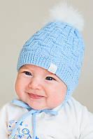 Вязаная зимняя шапка на завязках, для новорожденных, голубая