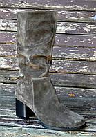 Зимние замшевые полусапожки на каблуке, фото 1