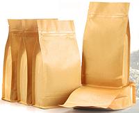 Пакет   с плоским дном , боковой zip-застежкой и клапаном 1000 г