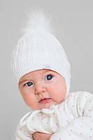 Вязаная зимняя шапка на завязках, для новорожденных, белая