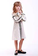 """Вышитое платье для девочки """"Думка"""" (серое), фото 1"""