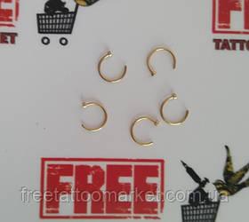 Кольцо для пирсинга носа с фиксатором золотистое (диаметр 10мм)
