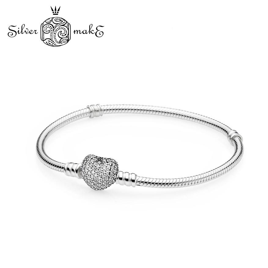 Оригинальный Браслет Pandora из серебра, застежка p-lock в виде сердца