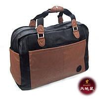 Сумка дорожная спортивная кожзам коричневая Tiandishu 2416