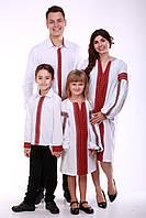 """Семейный комплект вышиванок """"Думка"""" (белый + красная вставка), фото 1"""