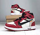 Мужские кроссовки Air Jordan 1 Off-white The 10 (Найк Аир Джордан Офф Вайт) в стиле красные, фото 2
