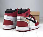Мужские кроссовки Air Jordan 1 Off-white The 10 (Найк Аир Джордан Офф Вайт) в стиле красные, фото 3