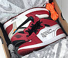 Мужские кроссовки Air Jordan 1 Off-white The 10 (Найк Аир Джордан Офф Вайт) в стиле красные, фото 9