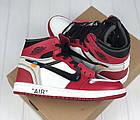 Мужские кроссовки Air Jordan 1 Off-white The 10 (Найк Аир Джордан Офф Вайт) в стиле красные, фото 10