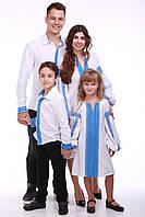 """Семейный комплект вышиванок """"Думка"""" (белый + синяя вставка), фото 1"""