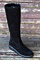 Женские замшевые сапоги на низком ходу, фото 1