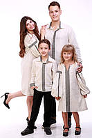 """Семейный комплект вышиванок """"Думка"""" (серый), фото 1"""