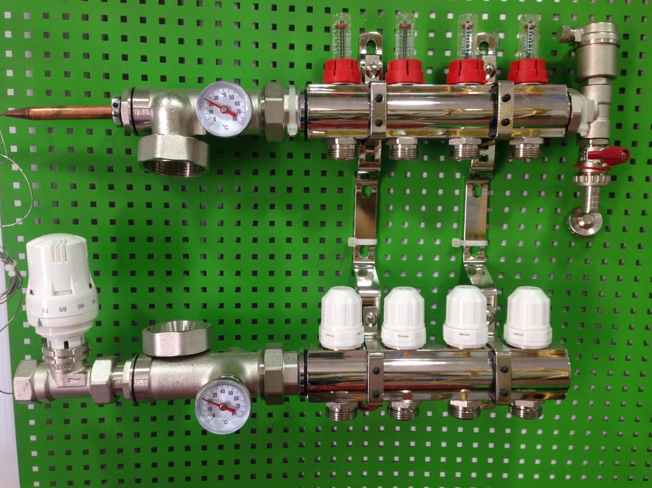 Коллектор для теплого пола ITAL на 11 контуров c одним сливным элементом
