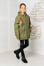 Куртка-парка для девочки с вышивкой