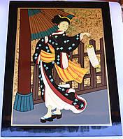 Картина эмаль (женщина с фонариком)