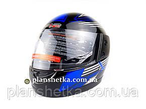 Шолом для мотоцикла F2 чорний глянець з синьою смугою (model 502), фото 2