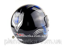 Шолом для мотоцикла F2 чорний глянець з синьою смугою (model 502), фото 3