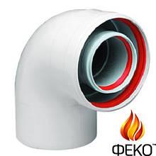 Отвод концентрический дымовой трубы 60/100, 87° до GB022