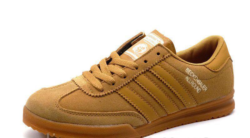 Женские замшевые кроссовки Adidas beckenbauer allround бежевые (реплика)