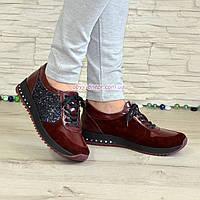 Туфли женские комбинированные на шнуровке, бордового цвета, фото 1