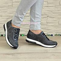 Туфли-кроссовки женские на утолщенной подошве, из натуральной кожи и замши серого цвета, фото 1